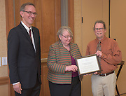 From left: Joseph Shields, Vice President for Research & Creative Activity and Dean of Ohio University's Graduate College along with Pam Benoit, Executive Vice President and Provost, congratulate Stephen Scanlan for being a finalist for the Presidential Teacher Award during the 2016 Faculty Awards Recognition Ceremony held at Baker Center on Tuesday, September 6, 2016.