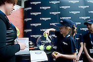 Maja Chwalinska holds the ball while official draw during the Longines Future Tennis Aces 2014 at Tuan Tennis Club in Jozefoslaw near Warsaw on April 11, 2014.<br /> <br /> Poland, Warsaw, April 11, 2014<br /> <br /> Picture also available in RAW (NEF) or TIFF format on special request.<br /> <br /> For editorial use only. Any commercial or promotional use requires permission.<br /> <br /> Mandatory credit:<br /> Photo by © Adam Nurkiewicz / Mediasport
