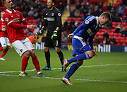 Ipswich striker Freddie Sears celebrating scoring Ipswich second goal during the Sky Bet Championship match between Charlton Athletic and Ipswich Town at The Valley, London, England on 28 November 2015. Photo by Matthew Redman.
