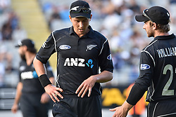 March 4, 2017 - Auckland, New Zealand - Trent Boult (L) and Kane Williamson (R) of New Zealand during the final match of  One Day International series between New Zealand and South Africa at Eden Park on March 4, 2017 in Auckland, New Zealand (Credit Image: © Shirley Kwok/Pacific Press via ZUMA Wire)