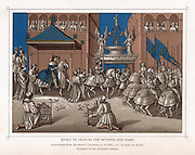 Charles VII, The Victorious (1403-1461) King of France from 1422. Charles's majestic entry into Paris preceded by his swordbearer; ladies watch from balconies, while doves of peace are released in foreground. Chromolithograph after Monstrelet's 'Chronicles' 16th century.