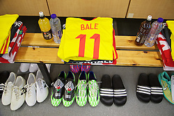 BRUSSELS, BELGIUM - Sunday, November 16, 2014: Wales' Gareth Bale's shirt and boots in the dressing room before the UEFA Euro 2016 Qualifying Group B game against Belgium at the King Baudouin [Heysel] Stadium. (Pic by David Rawcliffe/Propaganda)