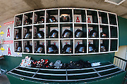 ANAHEIM, CA - JULY 05:  Batting helmets and gloved are set up and ready for the Baltimore Orioles game against the Los Angeles Angels of Anaheim at Angel Stadium on Sunday, July 5, 2009 in Anaheim, California.  The Angels defeated the Orioles 9-6.  (Photo by Paul Spinelli/MLB Photos via Getty Images)