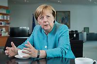 23 AUG 2017, BERLIN/GERMANY:<br /> Angela Merkel, CDU, Bundeskanzlerin, waehrend einem Interview, in Ihrem Buero, Bundeskanzleramt<br /> IMAGE: 20170823-02-004<br /> KEYWORDS: B&uuml;ro