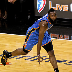 Jun 19, 2012; Miami, FL, USA; Oklahoma City Thunder guard James Harden (13) reacts after a basket against the Miami Heat during the second quarter in game four in the 2012 NBA Finals at the American Airlines Arena. Mandatory Credit: Derick E. Hingle-US PRESSWIRE