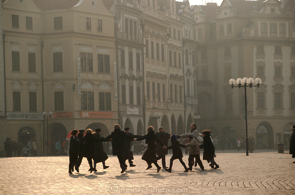 Spontanous dancing right after the Velvet Revolution. Prague, Czech Republic. Starometske Namesti (old town square).