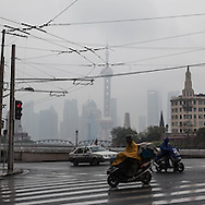 China, Shanghai. Pudong slkyline in the rain