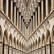 Mirror Image Digital composite of columns and arches of the Loggia in the Dodge's Palace, Venice, Italy<br />