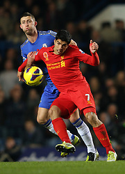 GARY CAHILL & LUIS SUAREZ.CHELSEA V LIVERPOOL.CHELSEA V LIVERPOOL. BARCLAYS PREMIER LEAGUE.LONDON, ENGLAND, UK.11 November 2012.GAP62087..  .WARNING! This Photograph May Only Be Used For Newspaper And/Or Magazine Editorial Purposes..May Not Be Used For Publications Involving 1 player, 1 Club Or 1 Competition .Without Written Authorisation From Football DataCo Ltd..For Any Queries, Please Contact Football DataCo Ltd on +44 (0) 207 864 9121