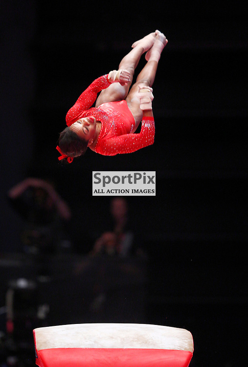 2015 Artistic Gymnastics World Championships being held in Glasgow from 23rd October to 1st November 2015.....Gabrielle Douglas (USA) performs on the Vault Table in the Women's All-Round Final...(c) STEPHEN LAWSON | SportPix.org.uk