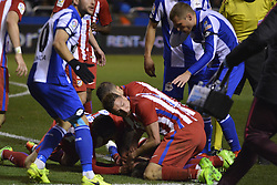 March 2, 2017 - La Coruna, Spain - Players trying to wake up Fernando Torres. La Liga Santander Matchday 25. Riazor Stadium, La Coruna, Spain. March 02, 2017. (Credit Image: © Monica Arcay Carro/VW Pics via ZUMA Wire/ZUMAPRESS.com)
