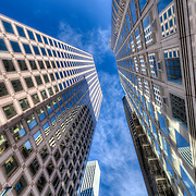 Looking up at skyscrapers in Union Square area of San Francisco.