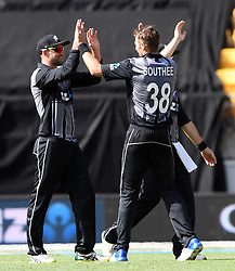 New Zealand's Tim Southee, left, celebrates with Tom Bruce after he took the catch off his bowling to dismiss Pakistan's Faheem Ashraf for 7 in the first T20 International Cricket match, Westpac Stadium, Wellington, New Zealand, Monday, January 22, 2018