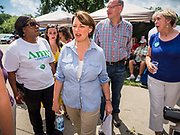 03 JULY 2019 - WEST DES MOINES, IOWA: US Senator AMY KLOBURCHAR, (D-MN) walks into the West Des Moines Democrats' annual 4th of July Picnic. Senator Klobuchar attended the picnic to support her bid to be the Democratic nominee for the US presidency in 2020. Iowa hosts the first presidential selection event of the 2020 election cycle. The Iowa Caucuses are scheduled for Feb. 3, 2020.       PHOTO BY JACK KURTZ