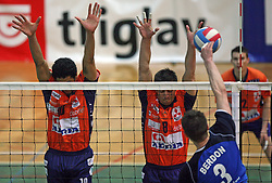 Block of Delano Thomas and Jasmin Cuturic of ACH Volley vs Andrej Berdon of Salonit  at 4th and final match of Slovenian Voleyball  Championship  between OK Salonit Anhovo (Kanal) and ACH Volley (from Bled), on April 23, 2008, in Kanal, Slovenia. The match was won by ACH Volley (3:1) and it became Slovenian Championship Winner. (Photo by Vid Ponikvar / Sportal Images)/ Sportida)