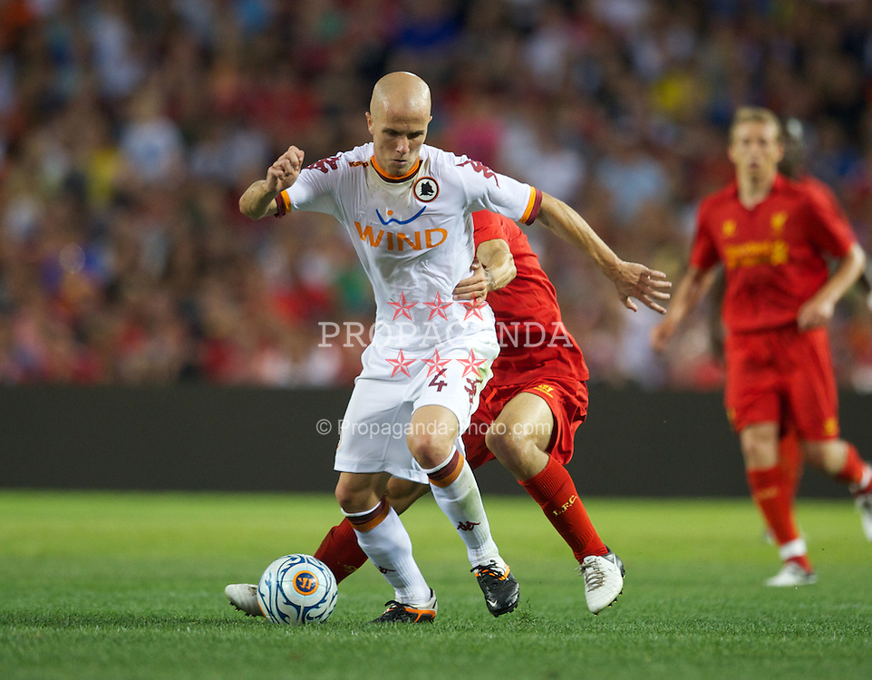 BOSTON, MA - Wednesday, July 25, 2012: AS Roma's Michael Bradley in action against Liverpool during a pre-season friendly match at Fenway Park, home of the Boston Red Sox, the second match of the Reds' North American tour. (Pic by David Rawcliffe/Propaganda)