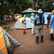 Hikers at the campsite of Big Tree Camp (formally known as Forest Camp) on the first night of a climb up Mount Kilimanjaro along the Lemosho Route.