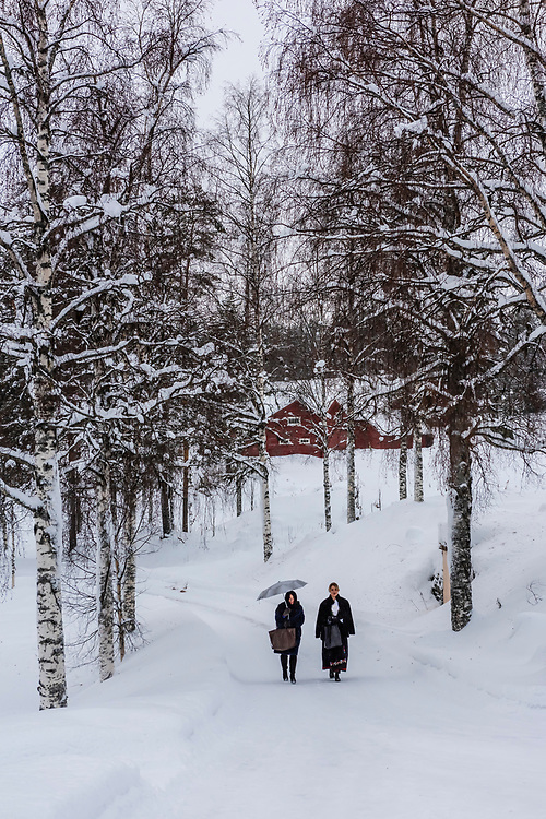 Norwegian women walking through the snow to a wedding ceremony, Plassen Church (kirke), a wooden (stave) church originally built in 1879. It burnt to the ground in 1904 and was rebuilt in 1907. Trysil, Norway.