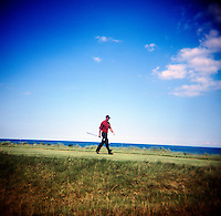 Tiger Woods walks down the fairway at round 4 of the PGA championship at Whistling Straits Sunday Aug. 15, 2004 Haven Wi.     Photo Darren Hauck..................................................................................