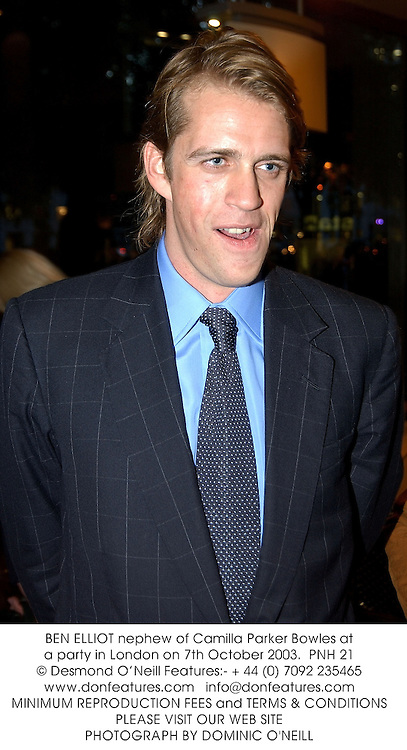 BEN ELLIOT nephew of Camilla Parker Bowles at a party in London on 7th October 2003.PNH 21