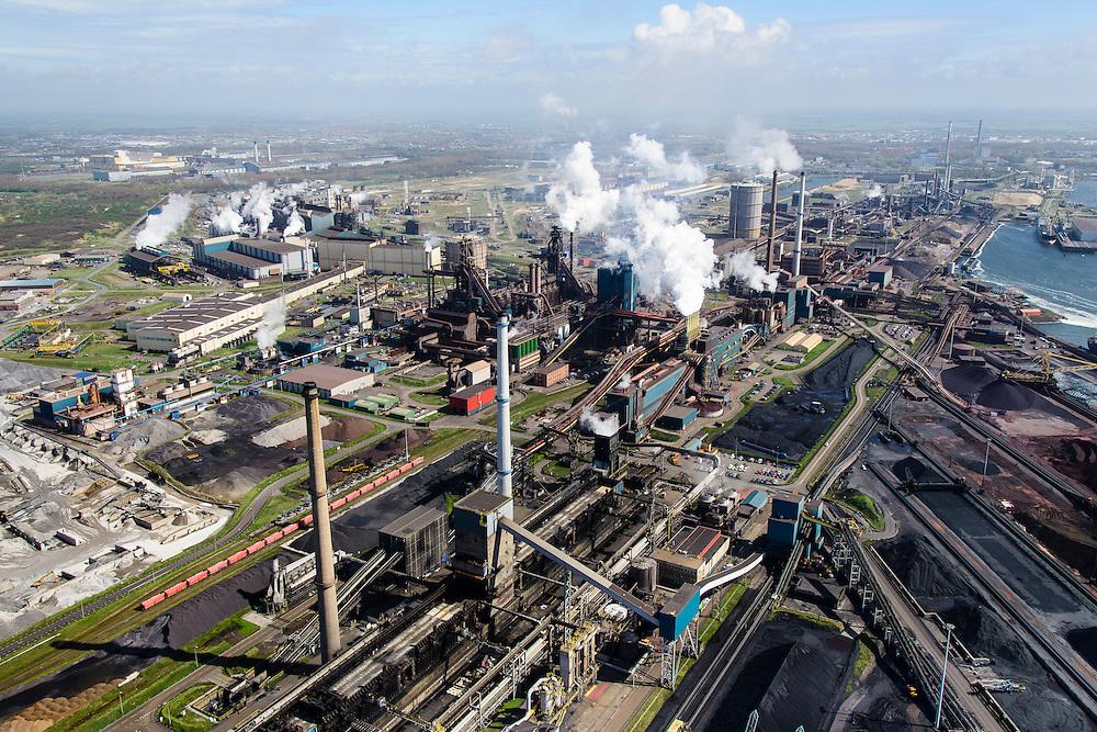 Nederland, Noord-Holland, IJmuiden , 09-04-2014; IJmuiden Steel Works van Tata Steel.  Overzicht met  cokesfabriek in de voorgrond. <br /> IJmuiden Steel Works, part of Tata Steel.<br /> luchtfoto (toeslag op standard tarieven);<br /> aerial photo (additional fee required);<br /> copyright foto/photo Siebe Swart