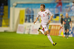 PODGORICA, MONTENEGRO - Wednesday, August 12, 2009: Wales' Chris Gunter in action against Montenegro during an international friendly match at the Gradski Stadion. (Photo by David Rawcliffe/Propaganda)