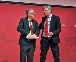 Pictured: Mark Drakeford with Scottish Labour leader Richard Leonard after the Welsh First Minister's speech.<br /> <br /> First Minister of the Welsh Assembly Mark Drakeford speaks to the the Scottish Labour spring conference 2019 in Dundee.<br /> <br /> &copy; Dave Johnston / EEm