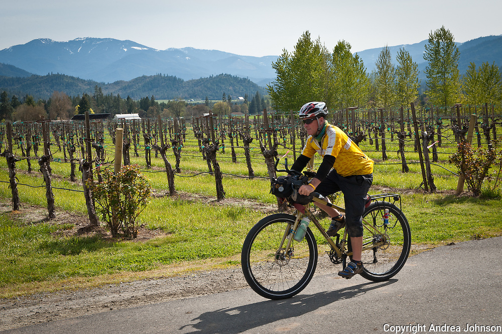 Bicyling Southern Oregon wine country, Troon vineyards, Applegate valley
