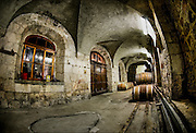 Wine barrels aging at the Latrun Abbey Trappist Monastery, Israel