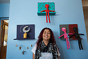 Artist Arabella Medrano at her studio in Reynosa, Tamaulipas, Mexico.<br /> <br /> This picture is part of my long-term project<br /> LA FRONTERA: Artists along the US Mexican Border.<br /> &copy; Stefan Falke / www.stefanfalke.com