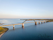 Fehmarn, Germany - May 11, 2019: Aerial drone view of the Fehmarn Bridge.