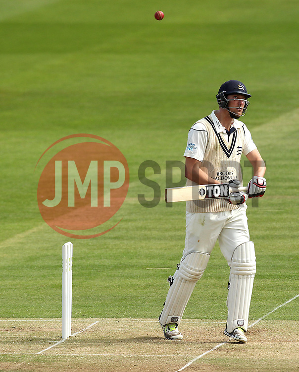 Middlesex's Ollie Rayner watches a short ball go over his head - Photo mandatory by-line: Robbie Stephenson/JMP - Mobile: 07966 386802 - 03/05/2015 - SPORT - Football - London - Lords  - Middlesex CCC v Durham CCC - County Championship Division One