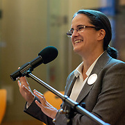 SEPTEMBER 26, 2017---MIAMI, FLORIDA---<br /> Lorena Zarate, from Habitat International Coalition, during her presentation. This was part of the Miami Dade College series, By the People.<br /> (Photo by Angel Valentin/Freelance).