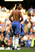 Chelsea v Fulham. Barclays Premier League. 29/09/2007. Didier Drogba of Chelsea has been leaves the pitch after getting red card for tackle on Chris Baird of Fulham