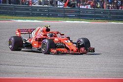 October 21, 2018 - Austin, TX, U.S. - AUSTIN, TX - OCTOBER 21: Ferrari driver Kimi Raikkonen (7) of Finland exits turn 1 during the F1 United States Grand Prix on October 21, 2018, at Circuit of the Americas in Austin, TX. (Photo by Ken Murray/Icon Sportswire) (Credit Image: © Ken Murray/Icon SMI via ZUMA Press)