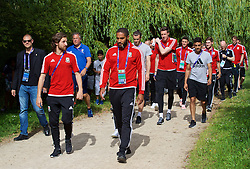 LYON, FRANCE - Wednesday, July 6, 2016: Wales' Joe Allen and captain Ashley Williams on a pre-match walk near their team hotel before the UEFA Euro 2016 Championship Semi-Final match against Portugal. (Pic by David Rawcliffe/Propaganda)