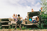 Ravers sitting on concrete, Halfway Quarry Brecon Wales, May 2017