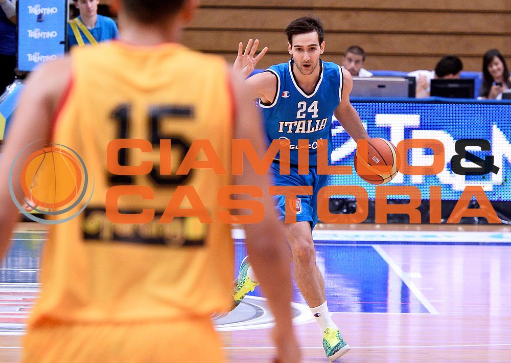 DESCRIZIONE : Trento Nazionale Italia Uomini Trentino Basket Cup Italia Belgio Italy Belgium<br /> GIOCATORE : Riccardo Moraschini<br /> CATEGORIA : palleggio<br /> SQUADRA : Italia Italy<br /> EVENTO : Trentino Basket Cup<br /> GARA : Italia Belgio Italy Belgium<br /> DATA : 12/07/2014<br /> SPORT : Pallacanestro<br /> AUTORE : Agenzia Ciamillo-Castoria/R.Morgano<br /> Galleria : FIP Nazionali 2014<br /> Fotonotizia : Trento Nazionale Italia Uomini Trentino Basket Cup Italia Belgio Italy Belgium