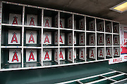ANAHEIM, CA - APRIL 14:  Closeup photo of the batting helmet bins of the Los Angeles Angels of Anaheim before the game against the Houston Astros on Sunday, April 14, 2013 at Angel Stadium in Anaheim, California. The Angels won the game 4-1. (Photo by Paul Spinelli/MLB Photos via Getty Images)