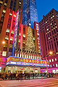 New York City. Radio City Music Hall on the Avenue of the Americas during Christmas Season.