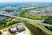 Nederland, Noord-Holland, Amsterdam,  29-06-2018; Watergraafsmeer, Science park met de hoogbouw van AM4 het nieuwste Equinix Data Centre. IJburg en Diemen Noord.<br /> Science park with the high-rise of AM4 the latest Equinix Data Center.<br /> <br /> luchtfoto (toeslag op standard tarieven);<br /> aerial photo (additional fee required);<br /> copyright foto/photo Siebe Swart