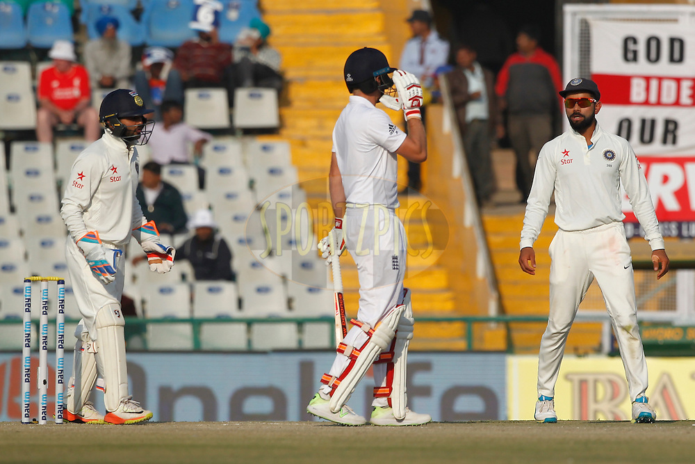 Virat Kohli Captain of India and Joe Root of England during day 3 of the third test match between India and England held at the Punjab Cricket Association IS Bindra Stadium, Mohali on the 28th November 2016.<br /> <br /> Photo by: Deepak Malik/ BCCI/ SPORTZPICS