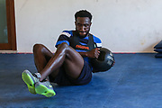Forest Green Rovers Manny Monthe(6) having a gym session during the Forest Green Rovers Training session at Browns Sport and Leisure Club, Vilamoura, Portugal on 24 July 2017. Photo by Shane Healey.
