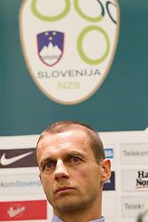 Aleksander Ceferin, president of NZS  during press conference of Football federation of Slovenia when announcing a new head coach of Slovenian National football Team, on October 24, 2011, in Brdo pri Kranju, Slovenia.  (Photo by Vid Ponikvar / Sportida)