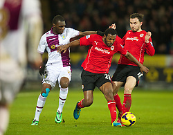 CARDIFF, WALES - Tuesday, February 11, 2014: Cardiff City's Kevin Theophile-Catherine in action against Aston Villa during the Premiership match at the Cardiff City Stadium. (Pic by David Rawcliffe/Propaganda)