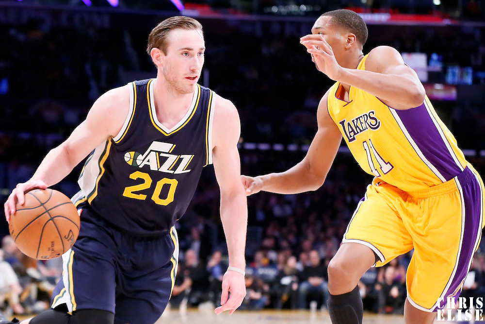 19 March 2015: Utah Jazz forward Gordon Hayward (20) drives past Los Angeles Lakers forward Wesley Johnson (11) during the Utah Jazz 80-73 victory over the Los Angeles Lakers, at the Staples Center, Los Angeles, California, USA.