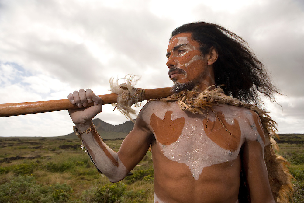 Native Rapa Nui man near Rano Raraku, Easter Island