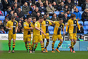 Fulham players celebrate as Fulham forward Moussa Dembele makes it 0-1 during the Sky Bet Championship match between Reading and Fulham at the Madejski Stadium, Reading, England on 5 March 2016. Photo by Adam Rivers.
