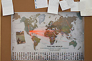 Letters written to the Human Rights Initiative of North Texas are posted on a bulletin board along with a map charting out many of their success stories at their office office in Dallas, Texas on July 16, 2014. <br /> CREDIT: Cooper Neill for The Wall Street Journal<br /> SLUG: IMMIGCOURTS