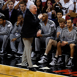 Jun 6, 2013; Miami, FL, USA; San Antonio Spurs head coach Gregg Popovich reacts to a call against the Miami Heat in the first quarter during game one of the 2013 NBA Finals at the American Airlines Arena. Mandatory Credit: Derick E. Hingle-USA TODAY Sports
